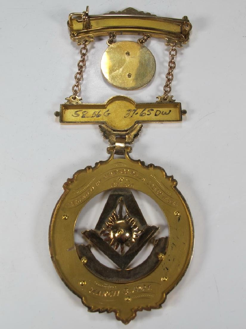 Antique Masonic 14 kt gold Past Master breast jewel - 4
