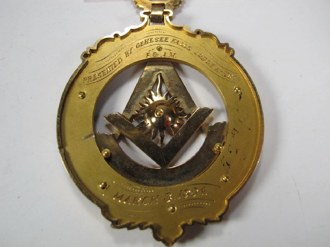 Antique Masonic 14 kt gold Past Master breast jewel - 5