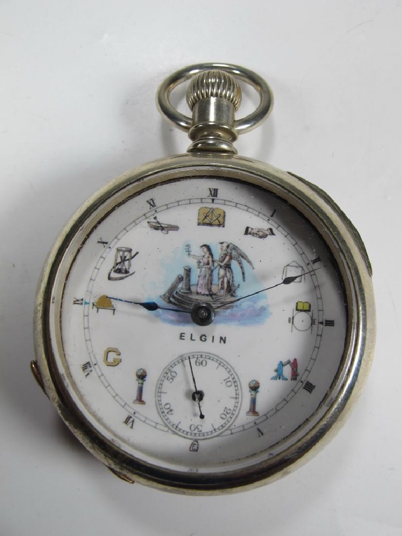 Vintage Elgin Masonic silveroid case pocket watch