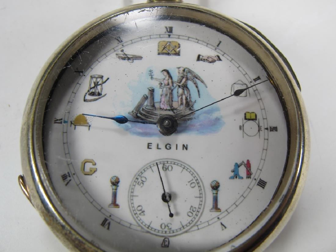 Vintage Elgin Masonic silveroid case pocket watch - 2