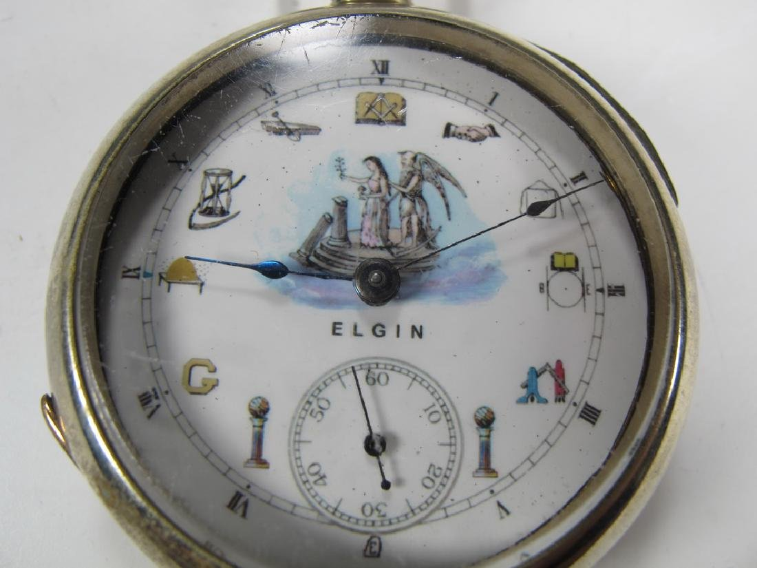 Vintage Elgin Masonic silveroid case pocket watch - 2
