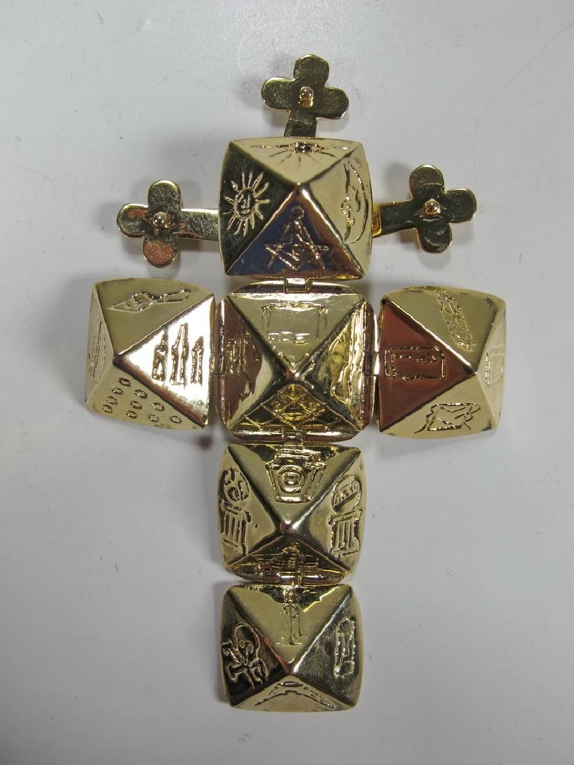 Vintage Gold plate Masonic fold out cube fob