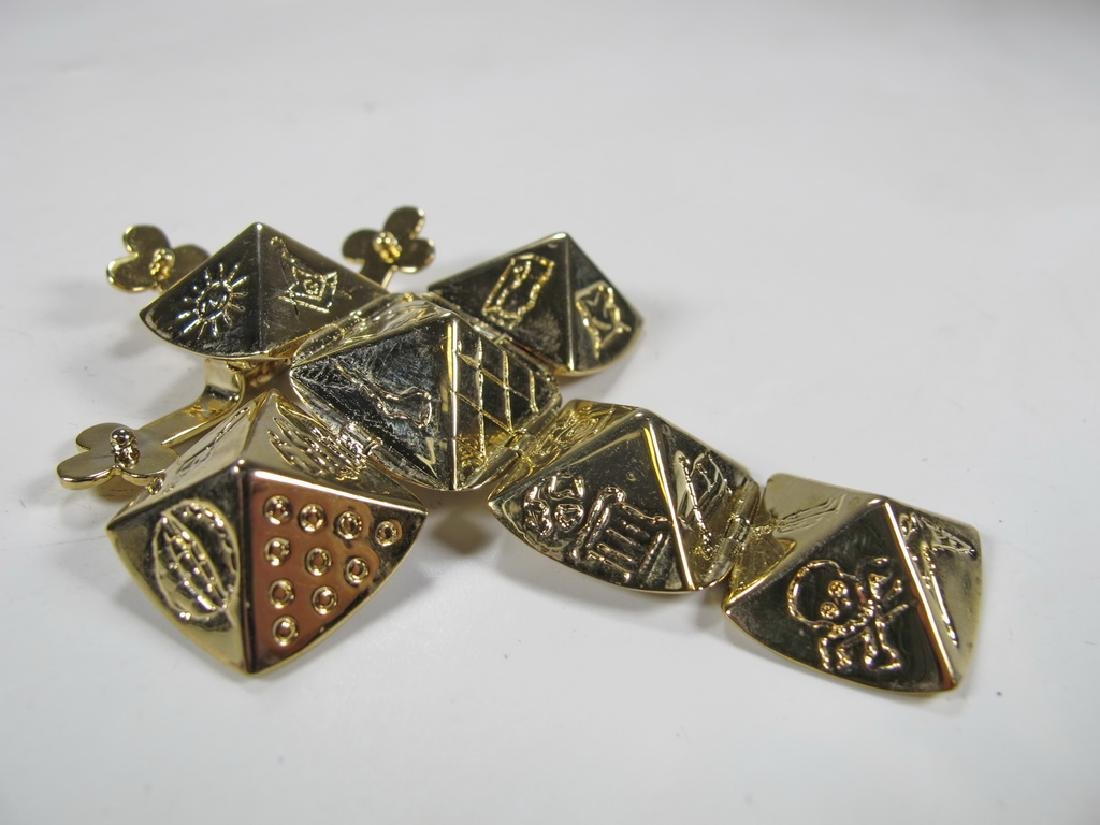 Vintage Gold plate Masonic fold out cube fob - 2