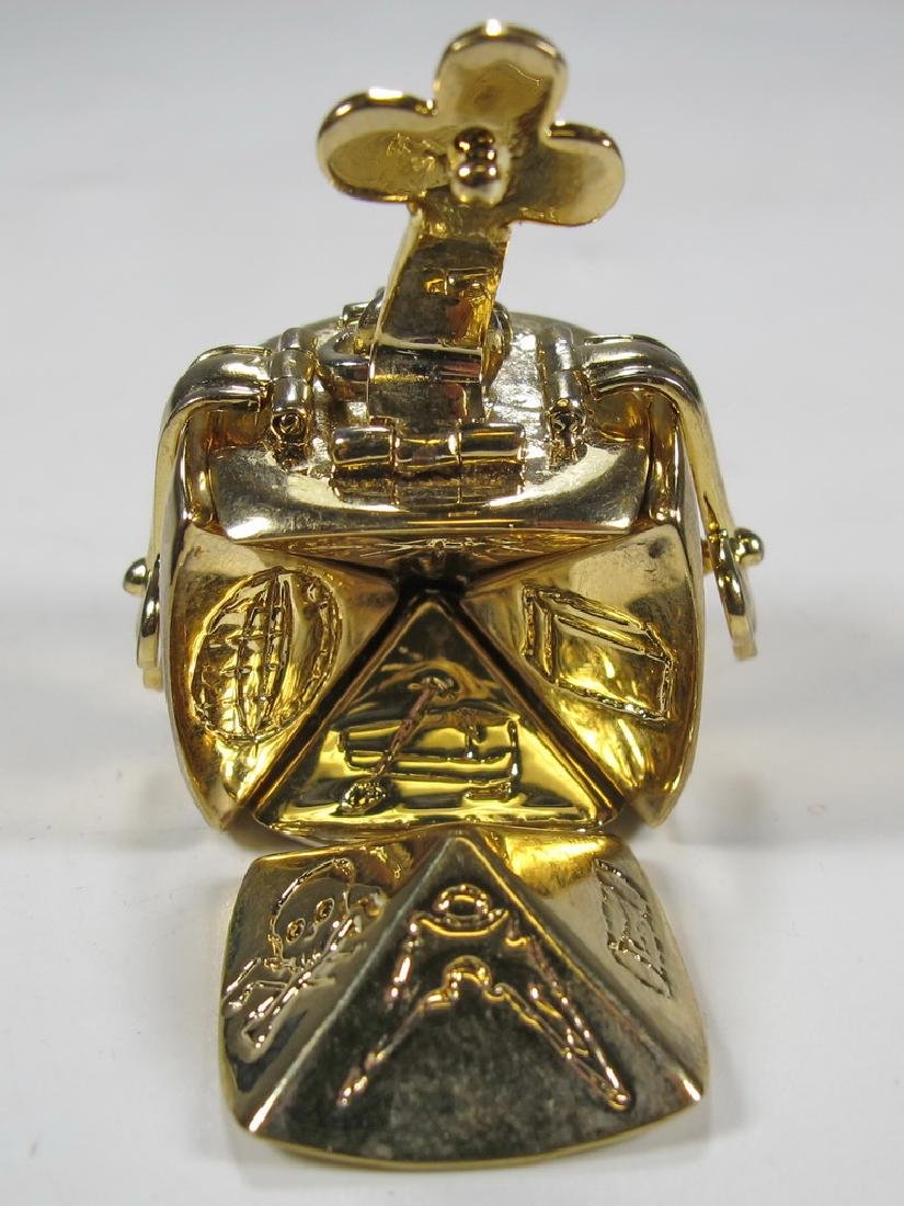 Vintage Gold plate Masonic fold out cube fob - 4