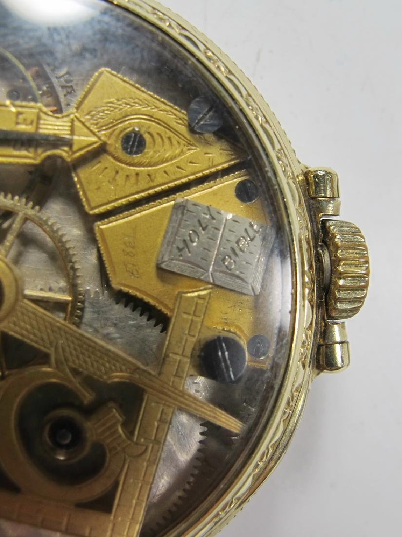 Vintage Dudley Masonic 19 jewels pocket watch - 4