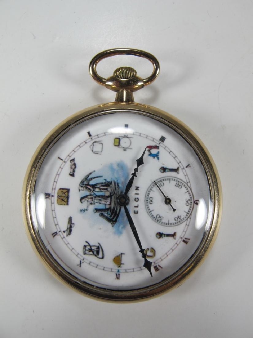 Vintage Elgin Masonic open face pocket watch