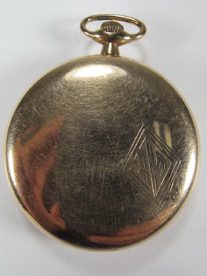 Vintage Elgin Masonic open face pocket watch - 3