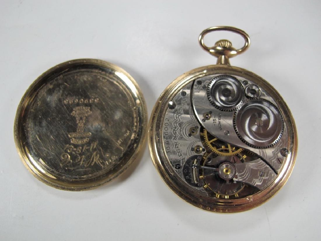 Vintage Elgin Masonic open face pocket watch - 4