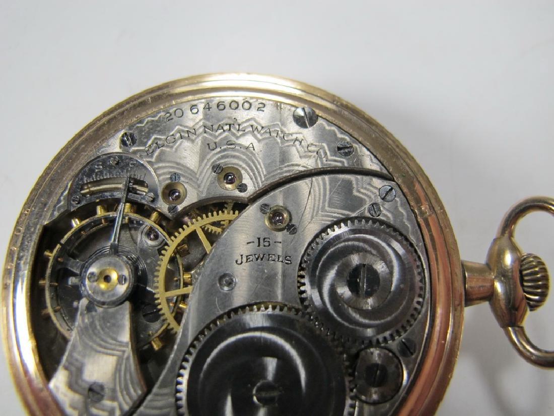 Vintage Elgin Masonic open face pocket watch - 6