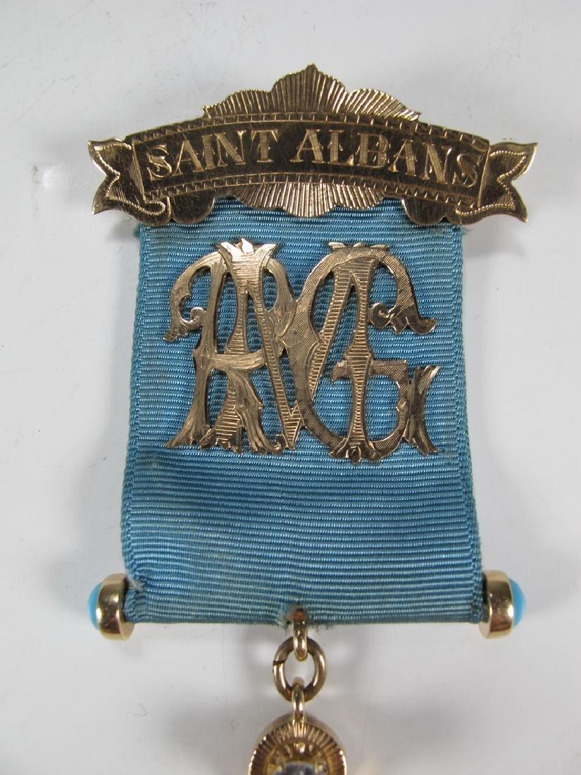 Antique Masonic 10 kt gold Past Master jewel - 2