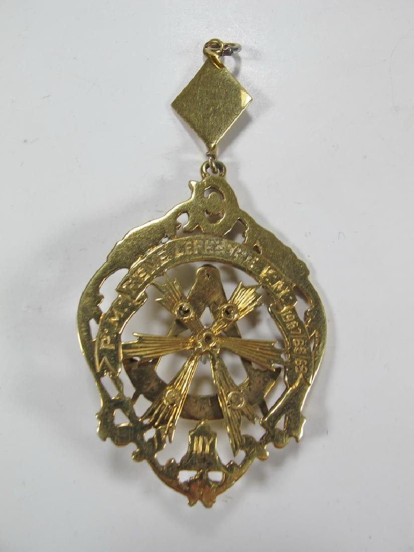 Vintage Masonic 14 kt gold Past Master jewel - 4