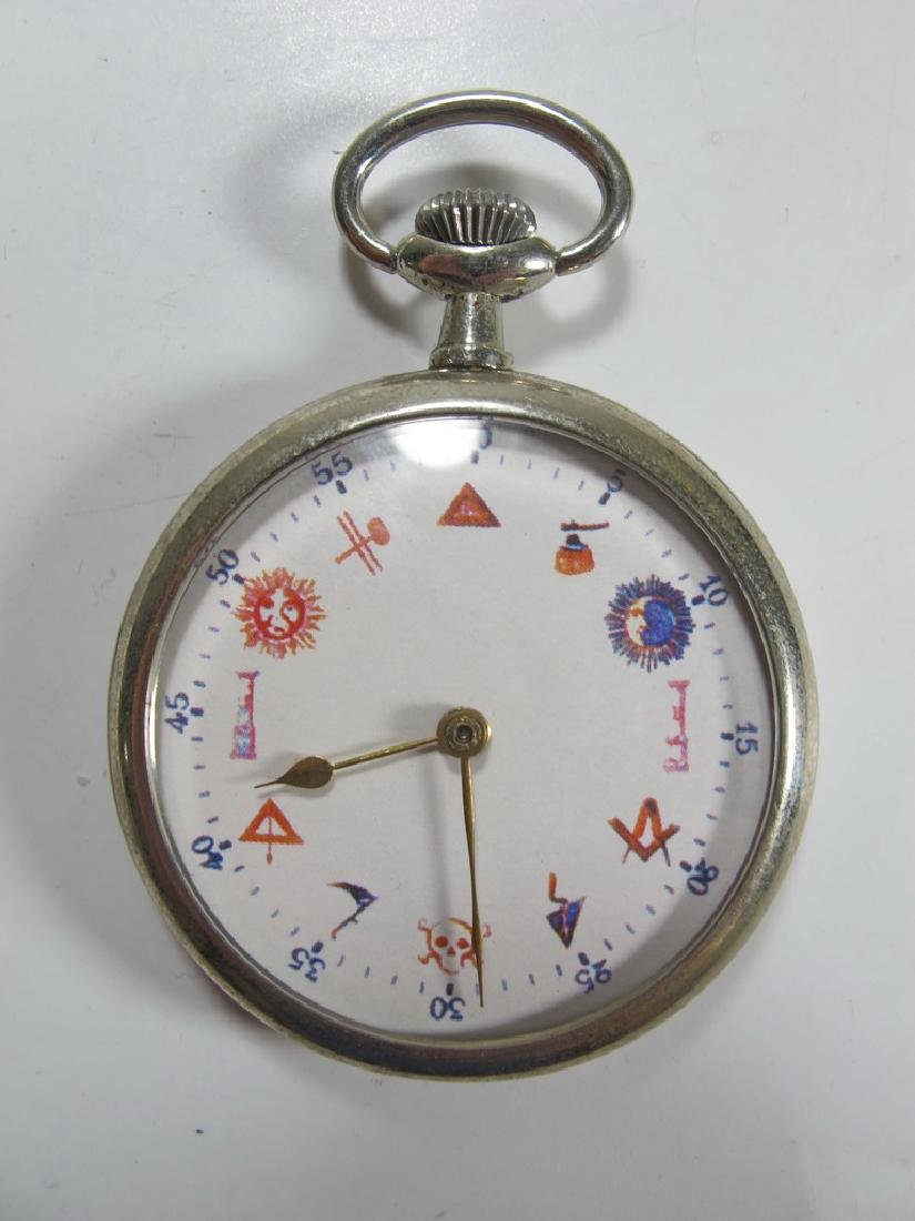 Vintage Masonic unbranded metal pocket watch
