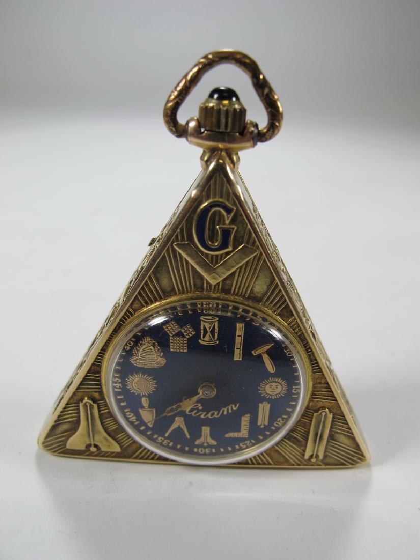 Antique Masonic Hiram 14 kt gold pocket watch