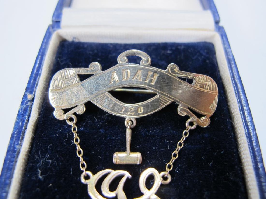 Antique Masonic 9 kt gold breast jewel - 2
