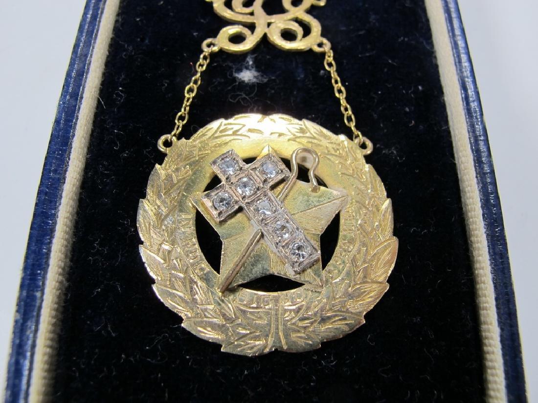 Antique Masonic 9 kt gold breast jewel - 3