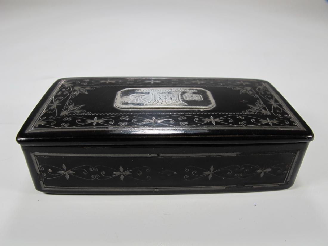 Antique Masonic paper mache & inlaid silver box