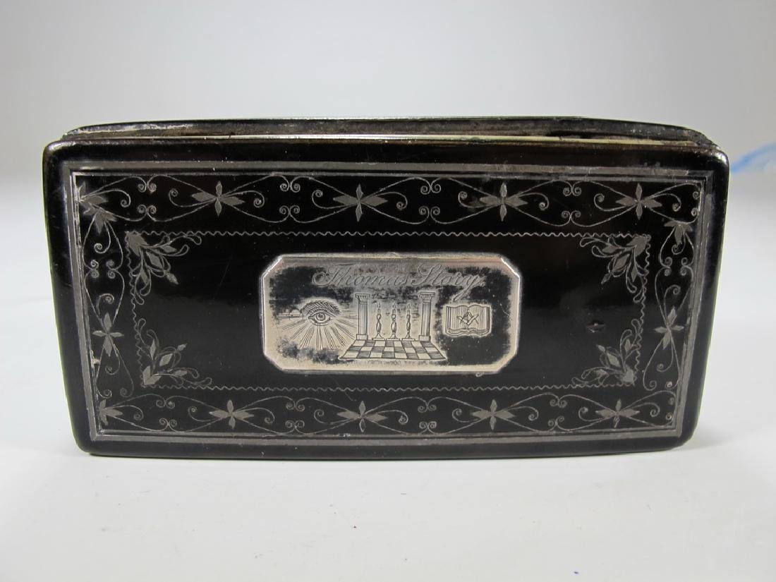 Antique Masonic paper mache & inlaid silver box - 3