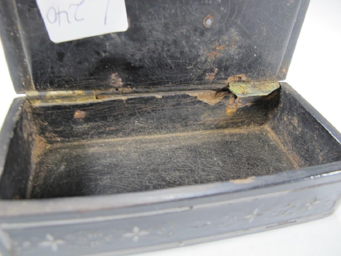 Antique Masonic paper mache & inlaid silver box - 6
