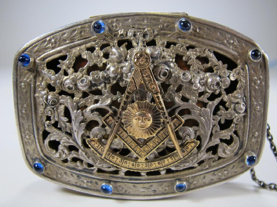 Antique Masonic German 800 silver box - 8
