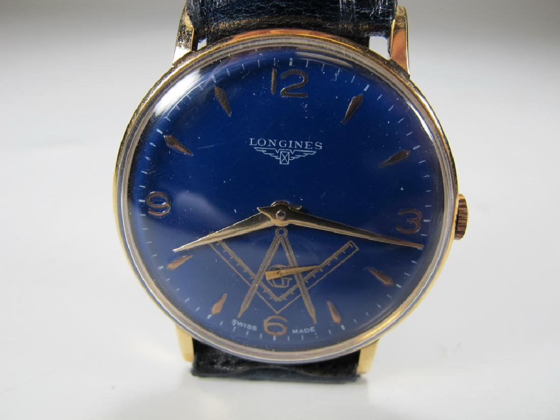 Vintage Masonic Longines 18k gold men's wrist watch