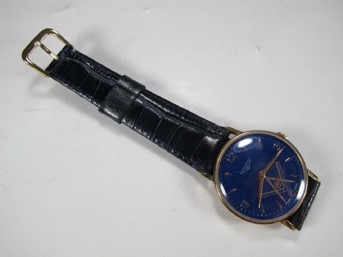 Vintage Masonic Longines 18k gold men's wrist watch - 2
