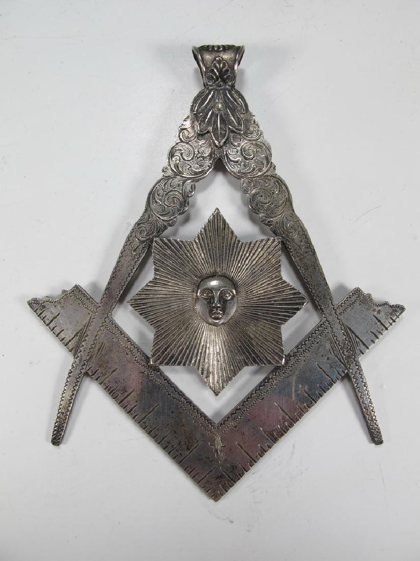 Masonic silverplate square & compass jewel