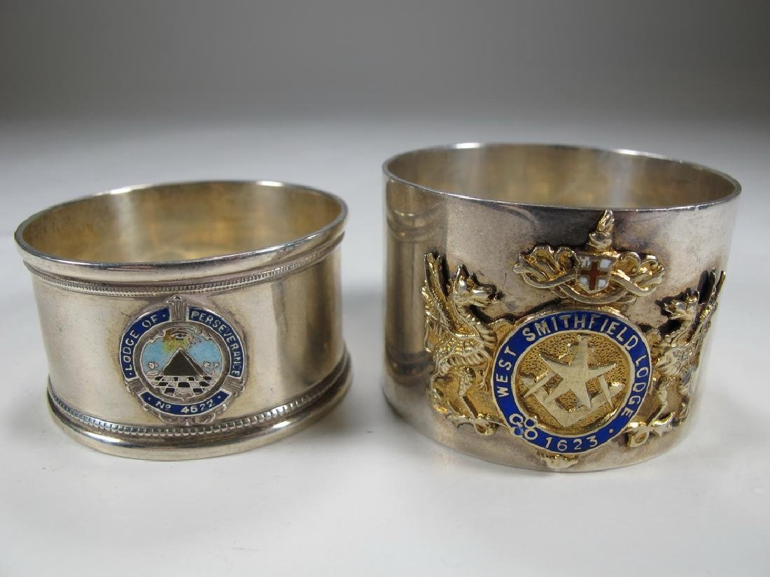 2 Masonic sterling enamel napkin rings