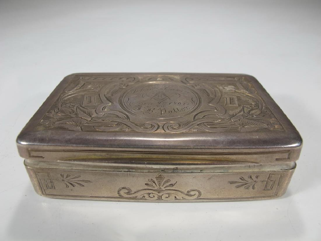 Antique Masonic European silver box