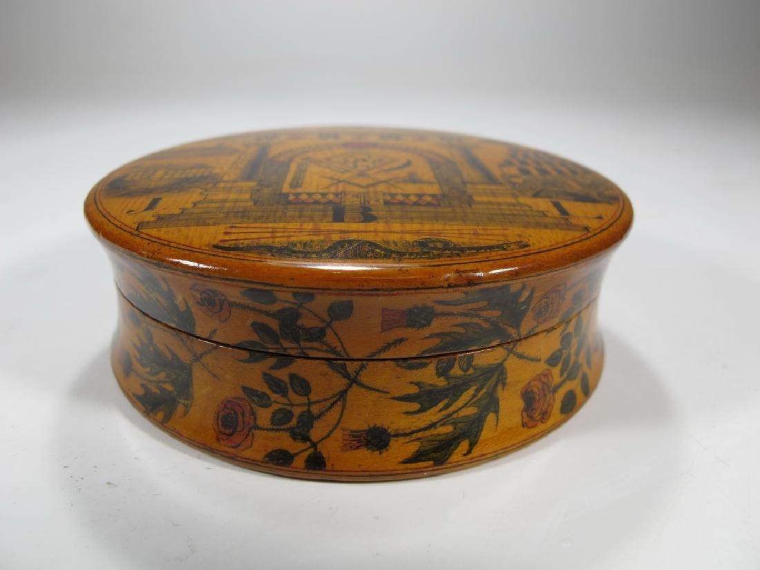 Antique Masonic wooden round snuff box