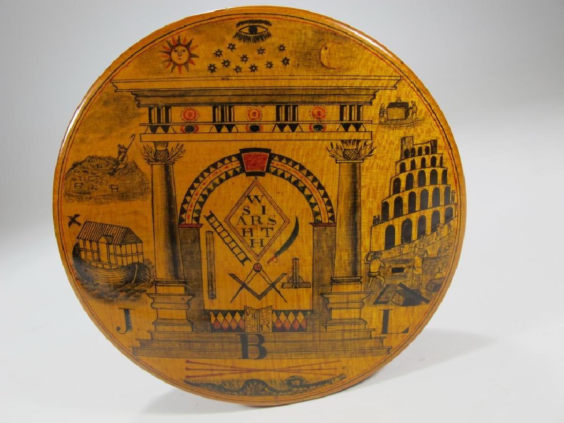Antique Masonic wooden round snuff box - 2