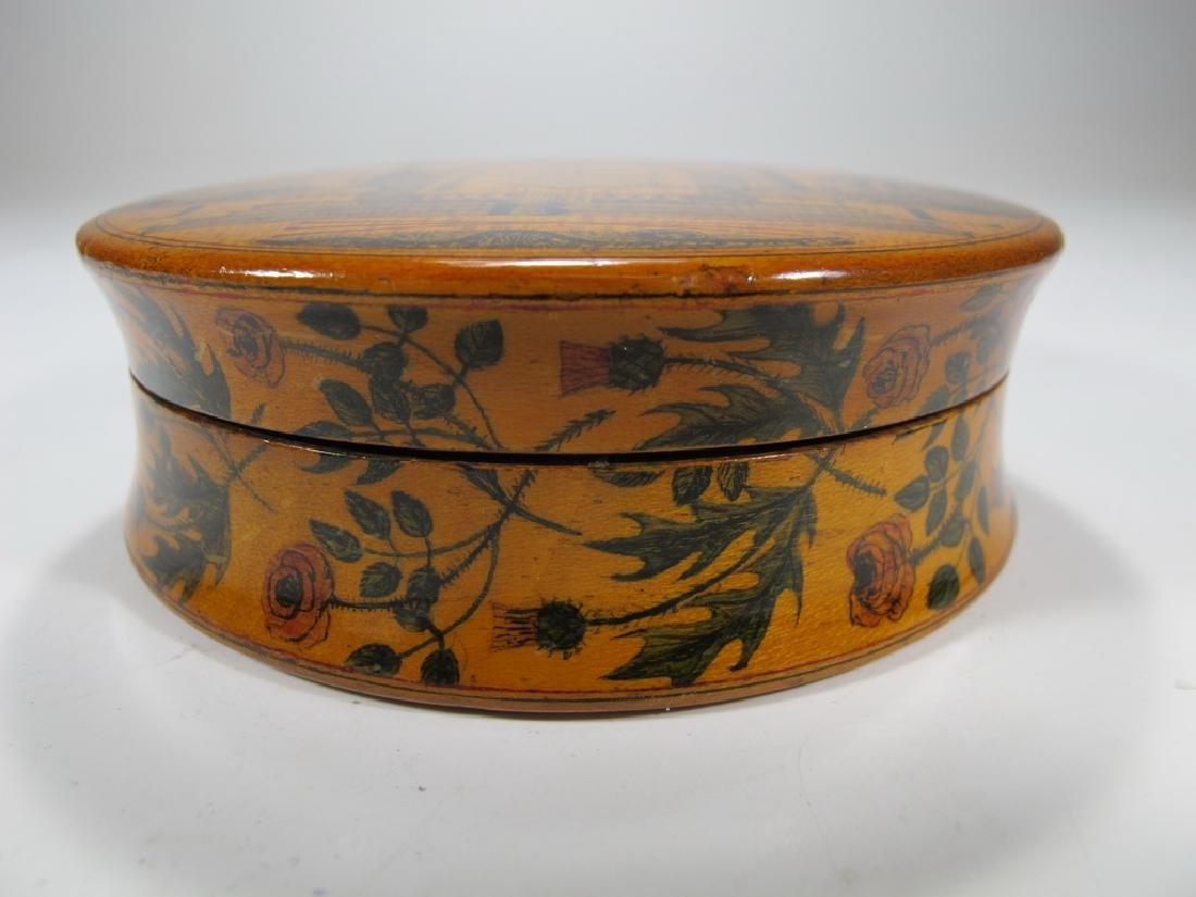 Antique Masonic wooden round snuff box - 3