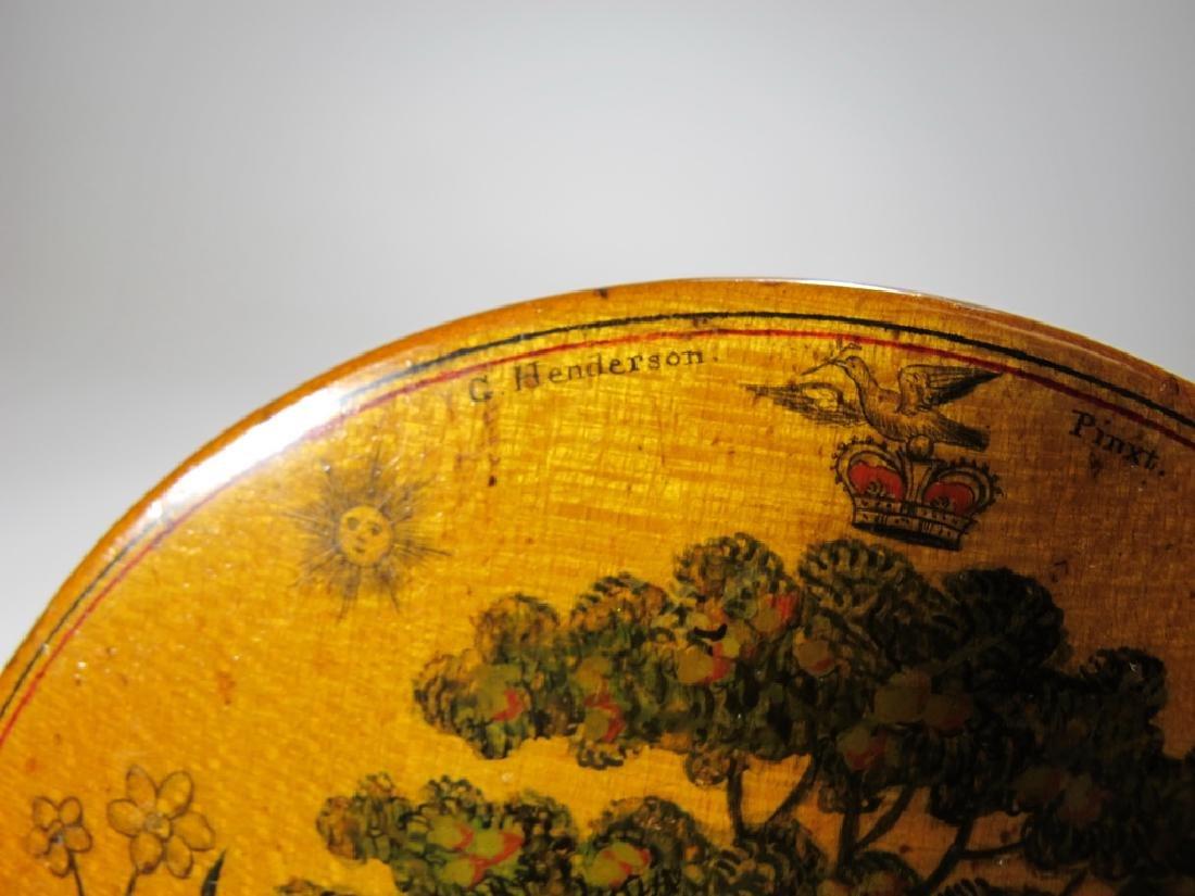 Antique Masonic wooden round snuff box - 5