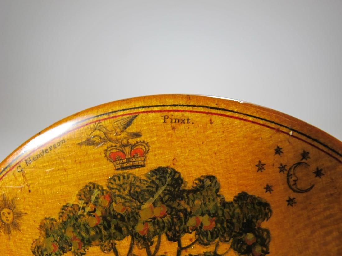 Antique Masonic wooden round snuff box - 6