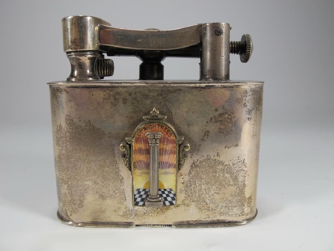 Antique Cartier Masonic sterling & enamel lighter