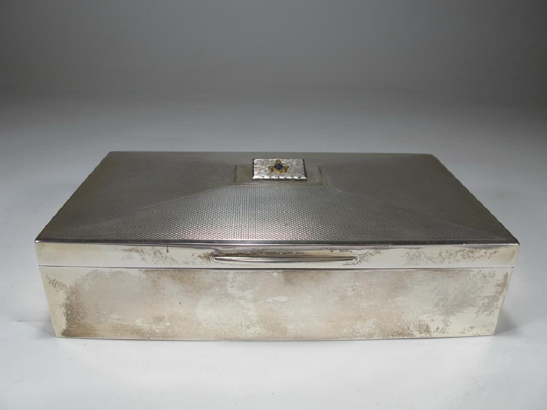 Antique English Masonic silver cigarette box