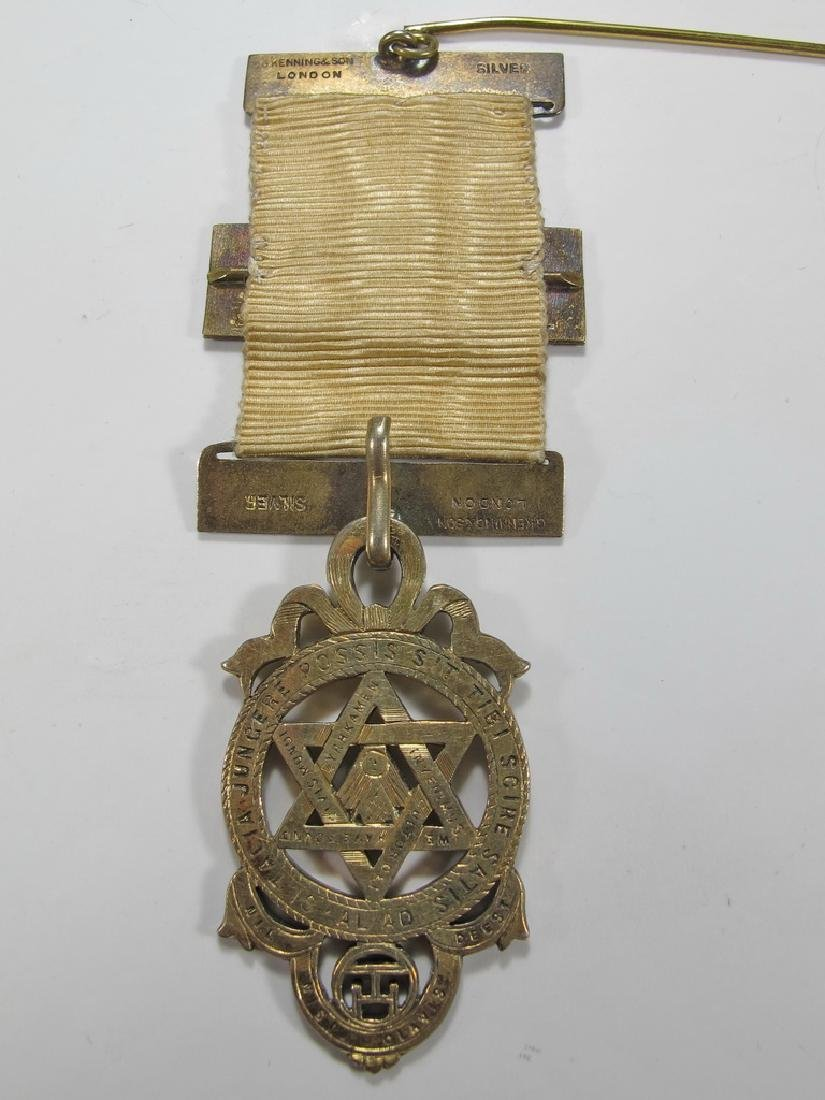 Antique Masonic stamped G. Kennings & son gilt silver - 4