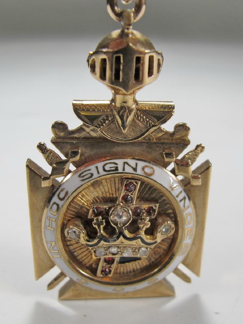 Masonic 9K gold Scottish Rite Knights Templar fob