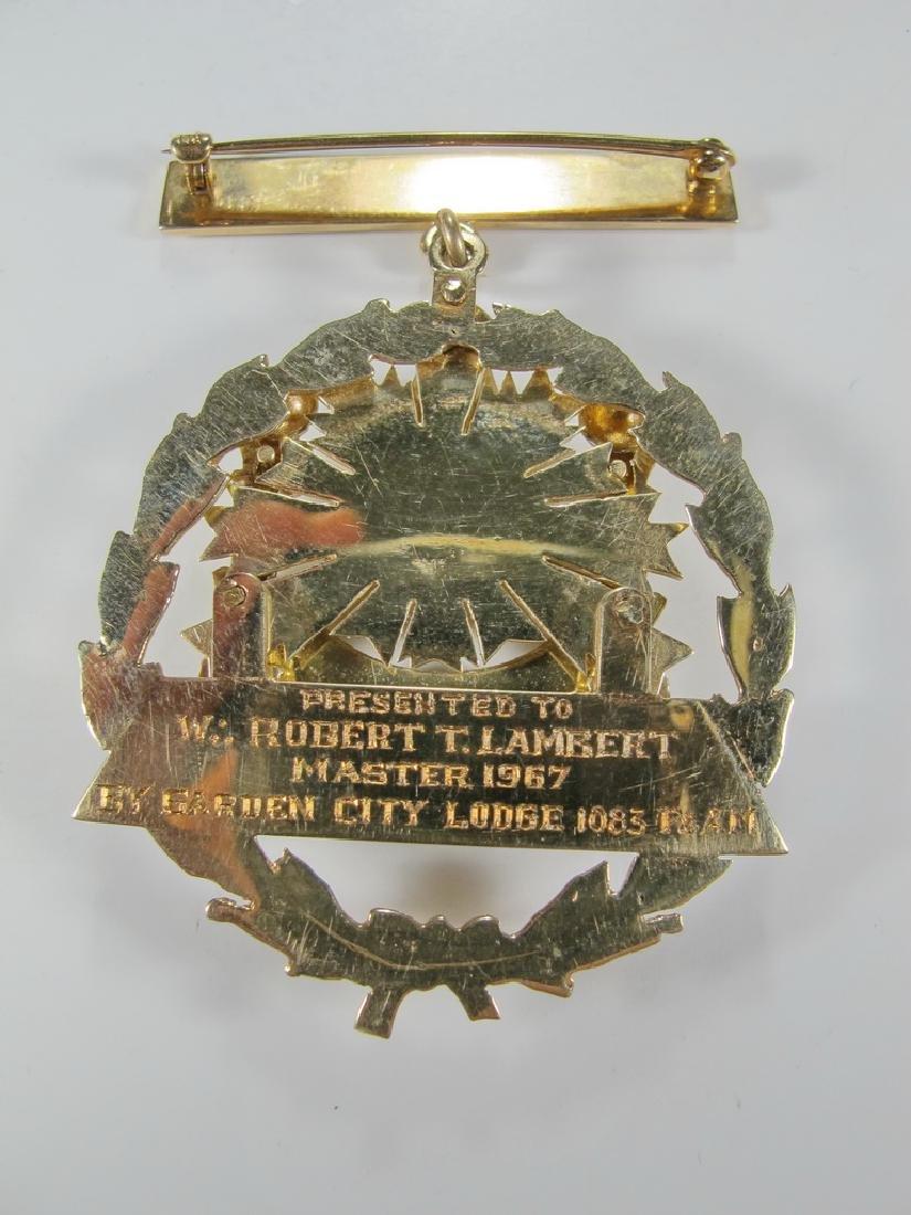Masonic 14K gold Past Master jewel - 4