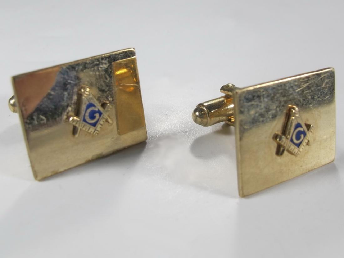 Pair of vintage Masonic 12k gold plated cufflinks