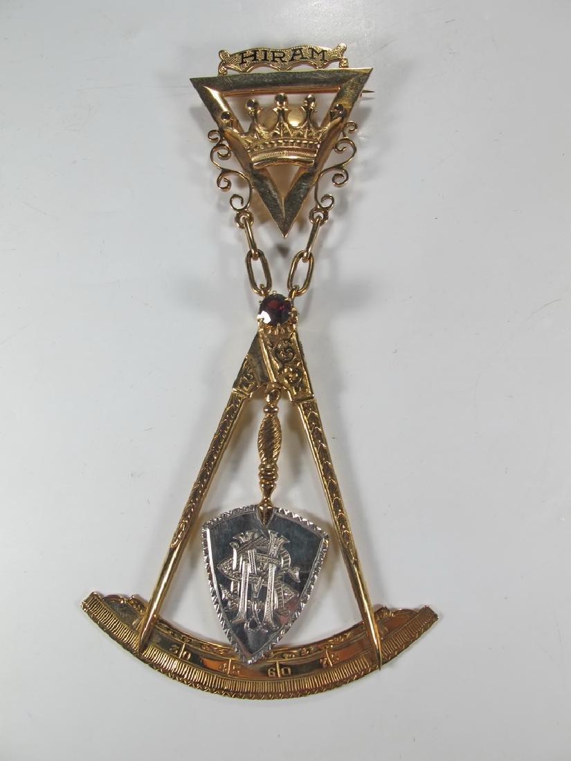 Masonic 14K gold Royal and Select Masters jewel
