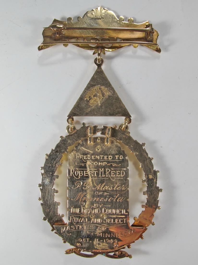 Masonic 14K gold Past Grand Master jewel - 4