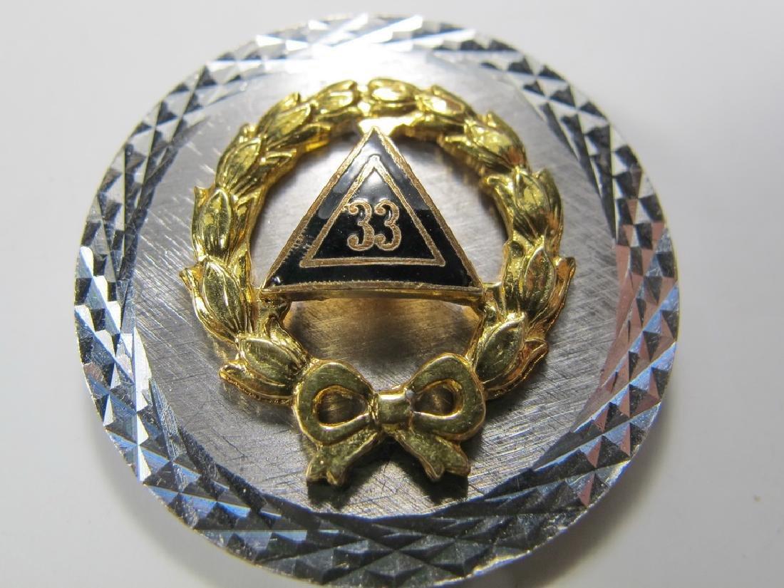 Masonic sterling & 8k gold brooch