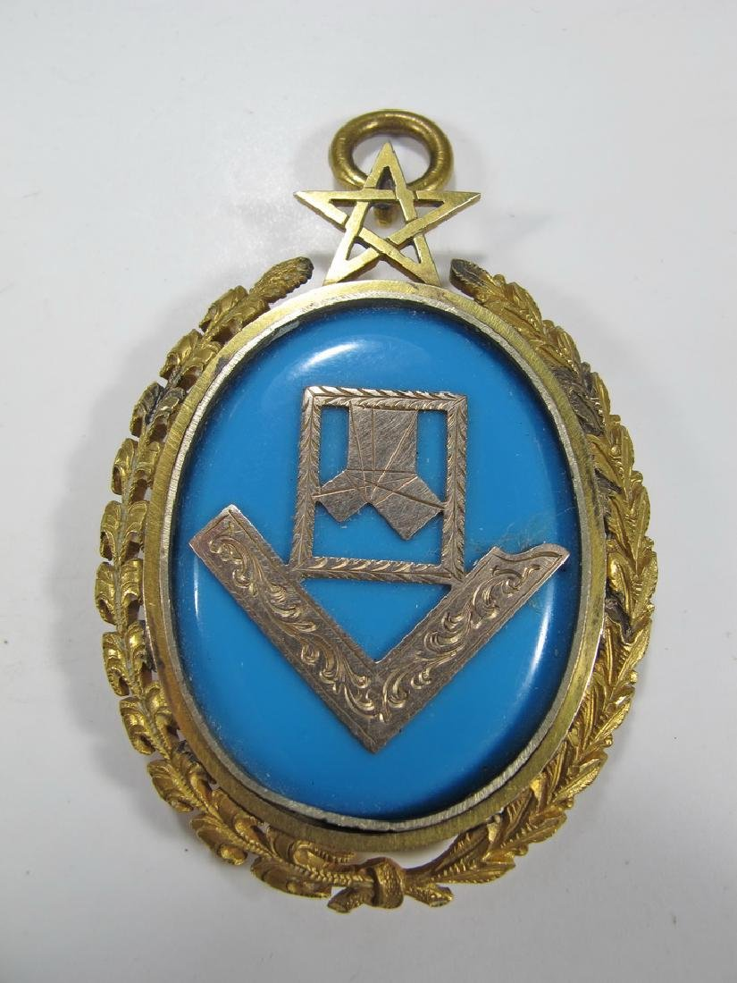 Antique Masonic 8k gold & turquoise jewel