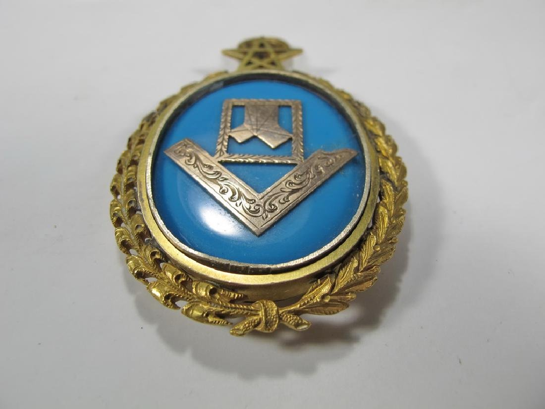 Antique Masonic 8k gold & turquoise jewel - 2