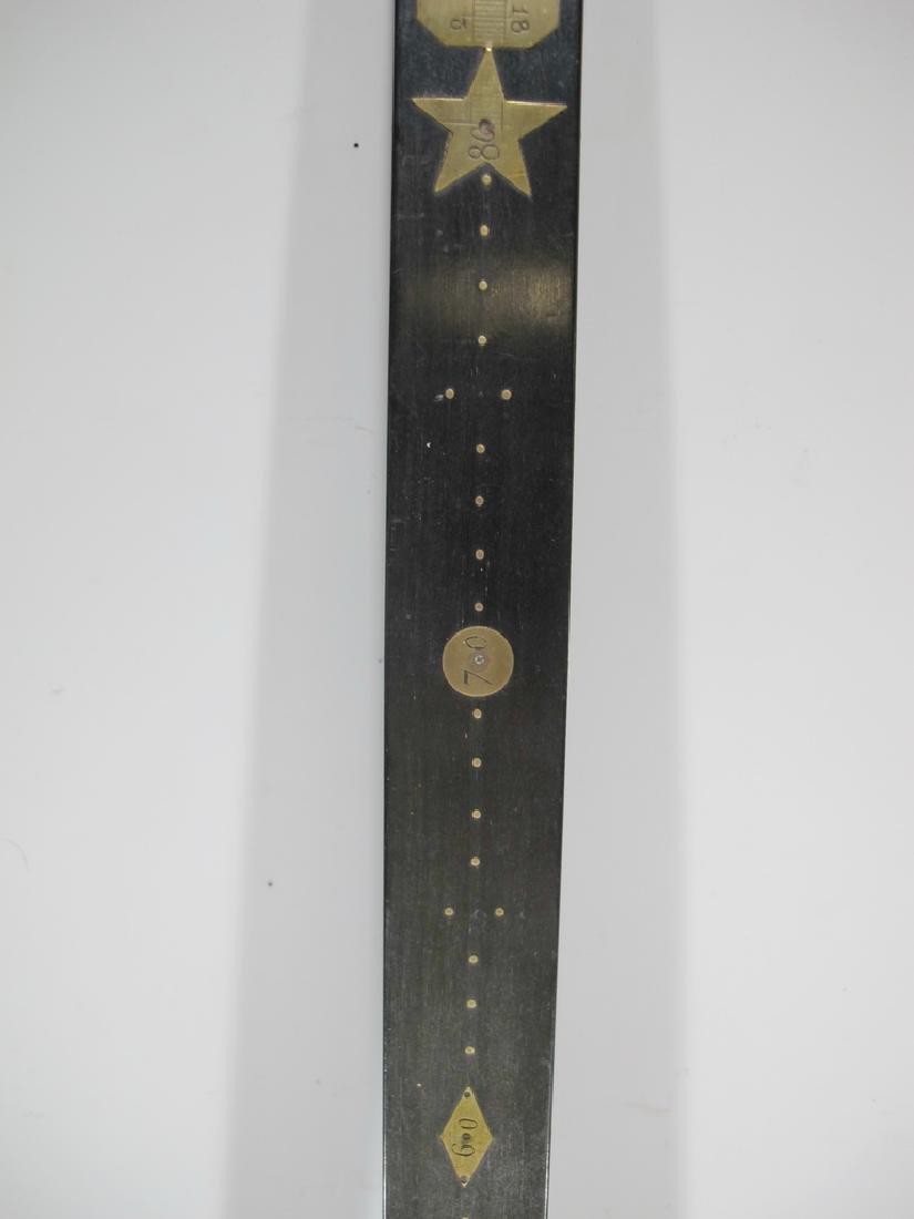 Masonic wood & bronze measuring ruler - 3