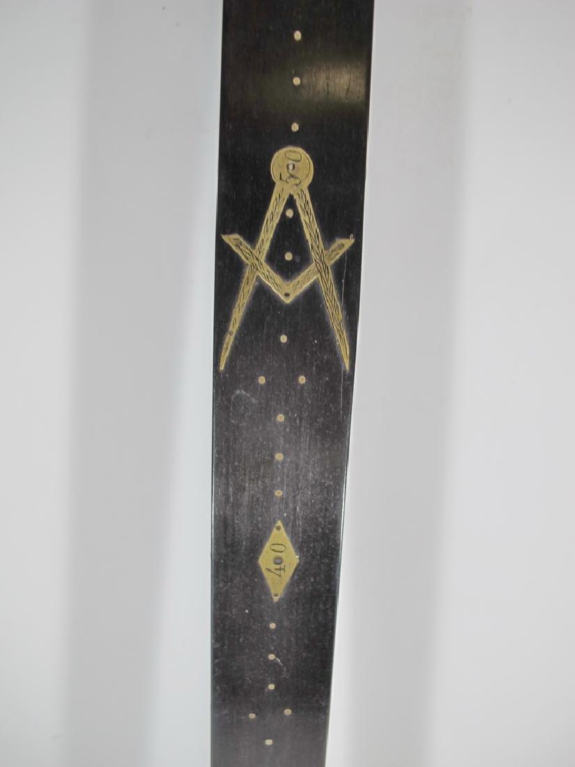 Masonic wood & bronze measuring ruler - 4