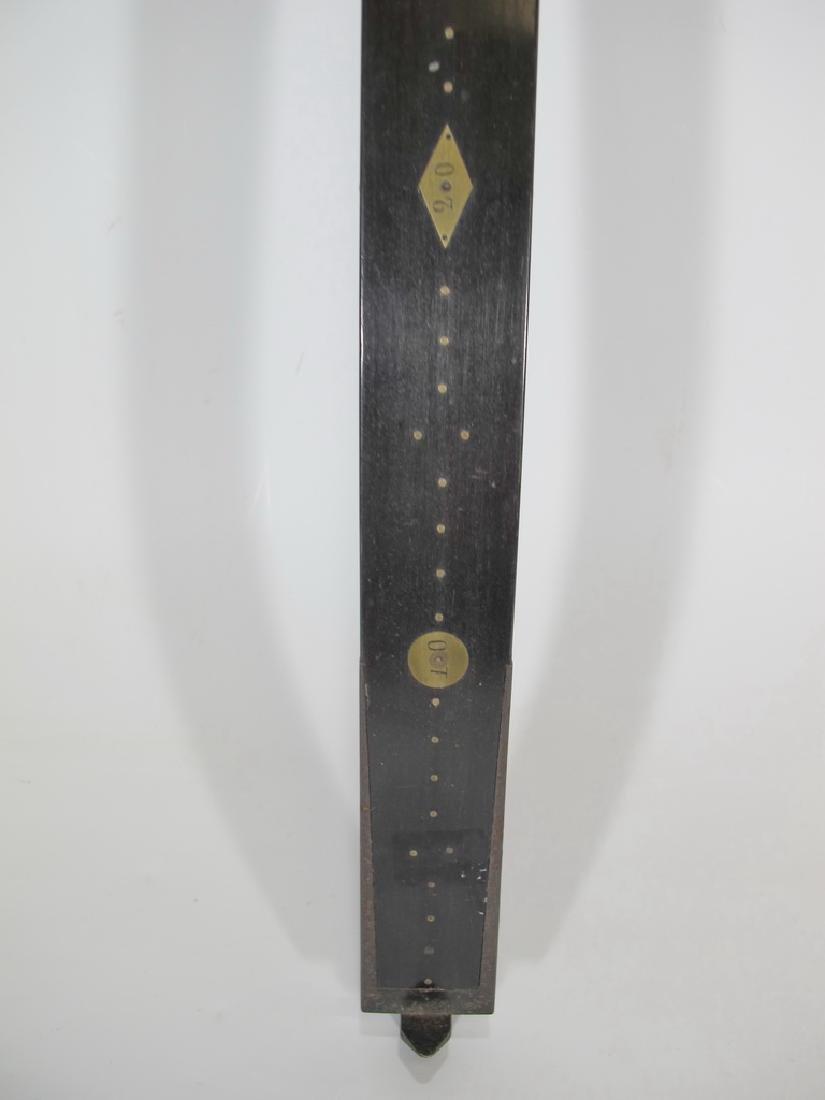 Masonic wood & bronze measuring ruler - 5
