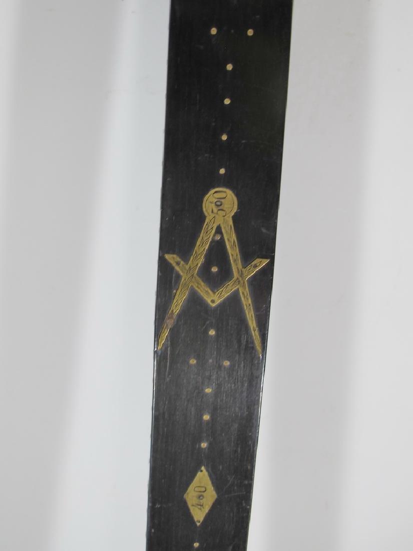 Masonic wood & bronze measuring ruler - 8