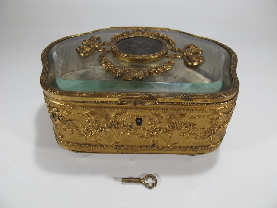 Antique French bronze & crystal jewelry box