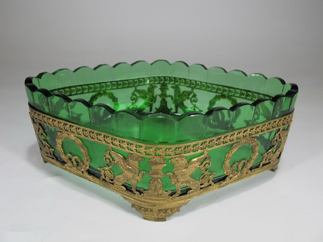 Antique French gilt bronze & green glass centerpiece